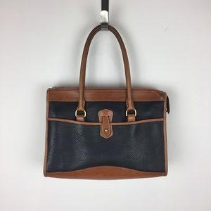 Dooney & Bourke   Black and Tan Skinny Handbag Vtg